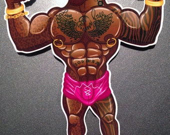 Buff Beekcake Beach Boy - Full Color Muscle Dude Vinyl Decal / Sticker