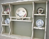 Large Display Shelves Shabby Chic Plate Cup Curio Display Hand Painted and Distressed White and Dark Grayed Sage by OlliesFineThings