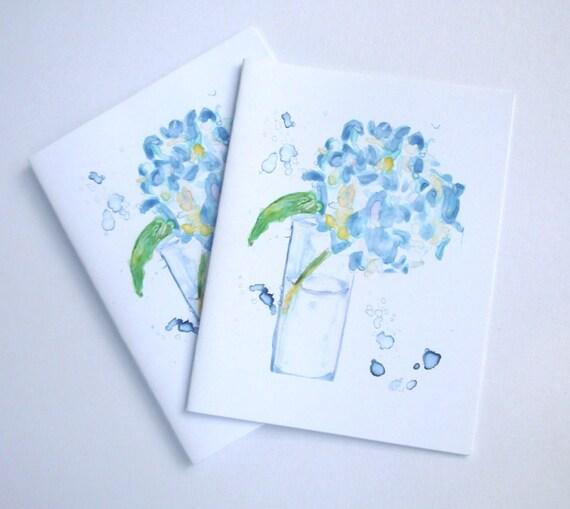 Blank Card Set - Blue Hydrangea Watercolor Art Note Cards, Set of 12