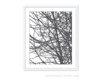 Tree Branches Digital Print - Charcoal Grey Modern Natural Home Decor  - Contemporary Nature Art - Woodland