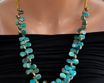 LP 1165  Gold Leafed,Pear Briolette Turquoise Statement Necklace