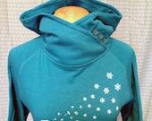 Wishful Thinking Dandelion & Snowflake Womens Button Cowl Neck Hoody