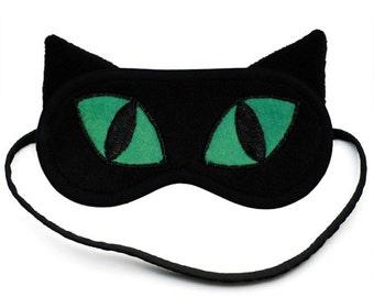 Black Cat Sleep Mask, Cute animal sleeping eye mask, Catnap, Silk or cotton eyemask, Emerald green, Kitty sleepmask, Gift for her him, Ears