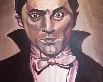 Dracula original art greeting card