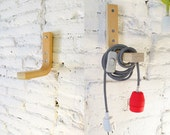 Textile cable lamp with switch, plug and the wood stand  - neon red