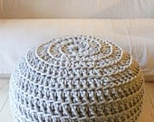 Super Giant Pouf Crochet - Thick Cotton - Grey