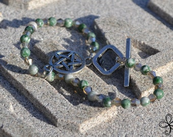 Moss Agate and Smoky Glass Pentacle Bracelet