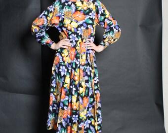 Dress Leopard 1980s Vintage 80s Leopard Floral Full Skirt Dress M Medium L Large Novelty Print