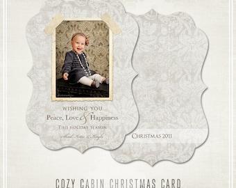 Cozy Cabin Card Template-  5x7 Ornate Card