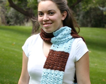 Crochet Striped Scarf -- Brown and Light Blue -- textured shell pattern