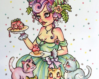 Kittens and Cake - 3 Blank Postcards - from Rudy Fig.  Illustration, kawaii, girls, Kittens, Party, Cat, Cake, stationary