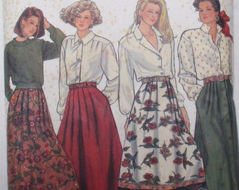 Vintage Women's Skirt Pattern -  Pleated Skirts - Simplicity 9876 - Sizes 6 - 12, Waist 23 - 26 1/2