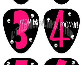 Bright Pink Punk Rocker Baby Onsie Guitar Pick DIY Iron on / Sticker PRINTABLE Cute Skulls Tattoo Alternative Heavy metal girl. YOU Print