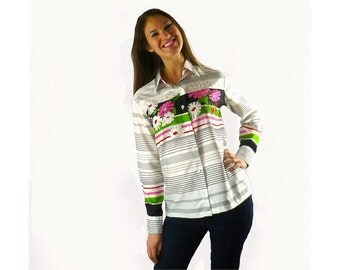 Lanvin Floral Blouse, Graphic Floral Shirt, Vintage Designer 1970s Lanvin Paris Size Medium