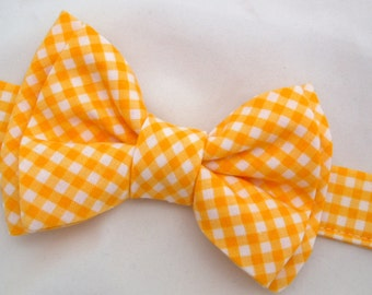 Sunshine Yellow Gingham Bow Tie for Dog or Cat - Any Size