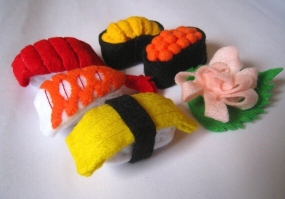 Felt food Sushi set, felt sushi, eco friendly children's pretend felt play food for toy kitchen