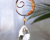 Bridesmaid Maid of Honor Wedding Gift Favor Suncatcher Crystal Teardrop Sun Catcher Spiral Orange Summer