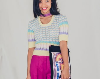 CLEARANCE!*** 50% off! - Candy Clouds modified vintage knit top with scalloped pastel stripes