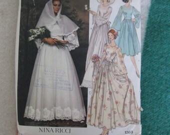 Vogue Paris Original Nina Ricci Bridal Dress, Belt, Slip and Scarf Pattern 1363
