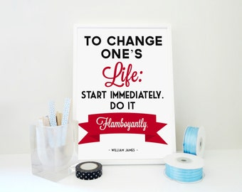 Motivational Quote Print To Change Ones Life, William James Quote Print, Inspirational Poster, Gift for Student, Blue / Khaki Green & White