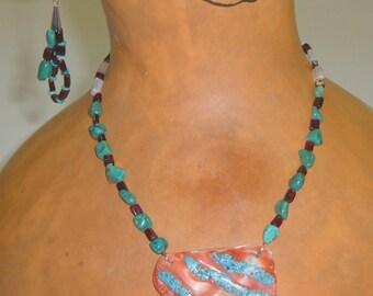 Abalone Turquoise Garnet Necklace