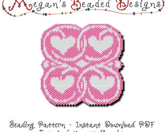 Beading Pattern: Entwined Hearts Amulet for Peyote or Brick Stitch