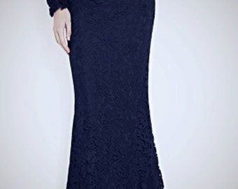 Floor length black lace maxi skirt, slightly Mermaid silhouette high quality tailor made, High fashion ,plus size black