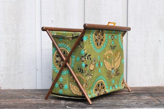 Vintage Folding Knitting Basket : Vintage mid century folding knitting basket s retro