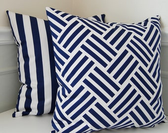 Navy Blue Pillow Cover, Blue Geometric Throw Pillow, Reversible Blue Throw Pillow, One 18x18 Pillow