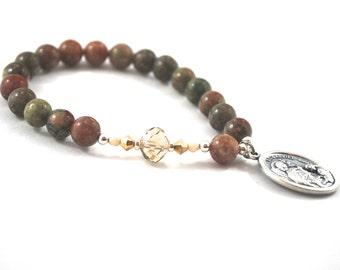 St Gabriel Archangel Gabriel Bracelet Patron Saint Bracelet Catholic Prayer Bracelet St Gabriel Earthy Jasper + Crystal, Quality Gemstones