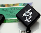 Dichroic fused glass pendant or badge reel - Fearless
