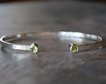 Green Peridot Cuff Bracelet in Sterling Silver