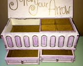 Hand Painted Jewelry Box Arrow Design Follow Your Arrow Triangle Storage Vintage Box