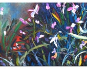 Pink orchids - art floral painting wall decor home decor wall hanging wall art blue canvas original painting impasto oil ready hang textured