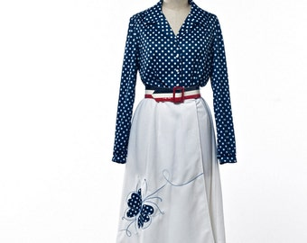 70'S Dress Toby George Red White Blue Polka Dots and Butterfly size Medium