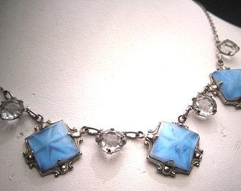 Antique Star Sapphire Necklace Art Deco Crystal 1920s
