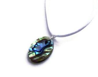 Paua Seashell Pendant On White Satin Cord, Iridescent Aqua Blue and Green