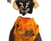 Antique Factory Original Bisque Doll Dress Outfit - Corset German Doll Ethnic Folk Costume S&H Simon Halbig Vintage Doll Clothing Velvet