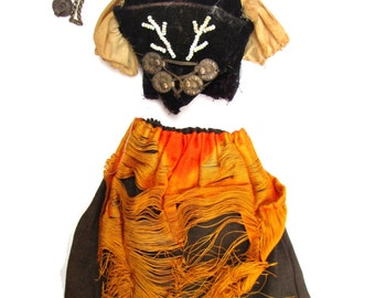 Antique Factory Original Bisque Doll Dress Outfit - Corset German Doll Ethnic Folk Costume S&H Simon Halbig Vintage Doll Clothing Velvet