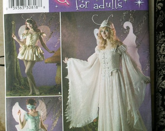 Size  6 8 10 12 Simplicity 3675 Fairy Angel Dress Wings Princess Sexy Andrea Schewe Halloween Costume Women MIsses Uncut Sew Sewing Pattern