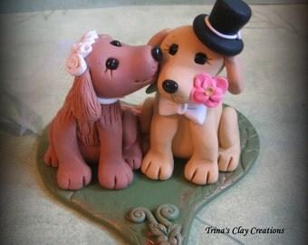 Wedding Cake Topper, Custom Cake Topper, Dogs Kissing, Puppy Cake Topper, Dog, Polymer Clay, Keepsake