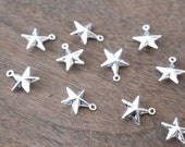 silver star charm, 10mm double sided star, silver plated brass, 10 pieces (965D)