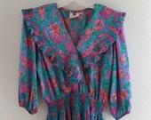 1980s Blue Floral Dress