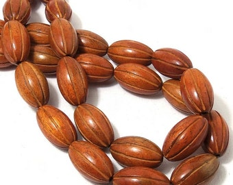 Sibucao Wood, 15mm x 25mm, Oval, Football, Carved with Grooves, Rustic, Natural Wood Beads, Large, Half Strand, 8pcs - ID 1835