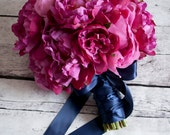 Fuchsia and Navy Peony Wedding Bouquet