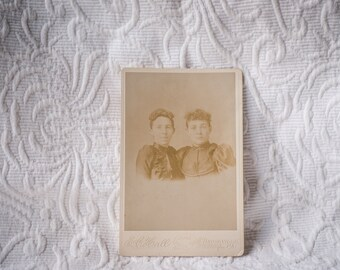 Antique Portrait Cabinet Card - Sisters Portrait from circa 1892 photographed by EC Hall