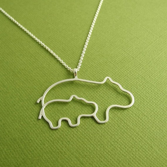 Reserved for Mamie, Mother and Baby Hippo Necklace, New Mom Necklace, Argentium Sterling Silver, Made To Order