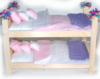 Double Doll Bunk Bed - Dots Dots Dots American Made Girl Doll Bunk Bed - Fits 18 inch dolls and AG dolls