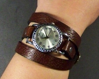 Wrap Around Watch, Womens Watch, Leather Watch, Brown Leather Watch, Bracelet Watch, Leather Jewelry, Montre, Leather Wristband, Gifts