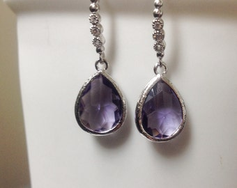 Purple Earrings, Amethyst purple earrings, Purple drop earrings, dangle earrings purple, bridesmaid purple earrings, purple drop
